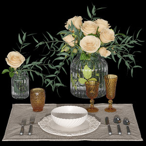 3D table setting roses model