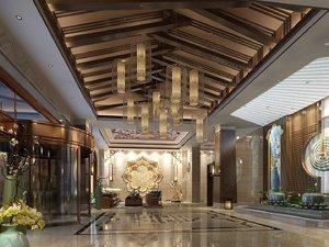 3D hotel lobby reception desk