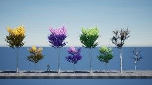 3D model foliage forest stylized birch tree
