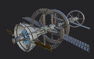 3D model space station modeled