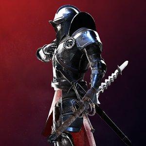 3D heavily armored landsknecht character model