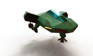 low-poly spaceship minigun model