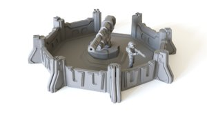 artillery emplacement tabletop scenery 3D