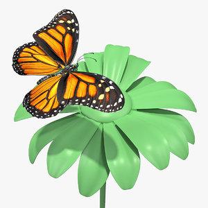 3D monarch butterfly sits swinging model