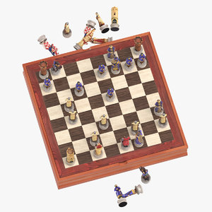 chess board set 01 3D model