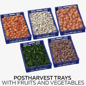 3D postharvest trays fruits vegetables model