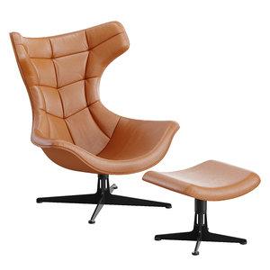 3D model armchair regina ottoman poltrona frau