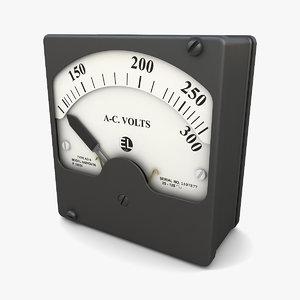 3D vintage ac voltmeter 02 model