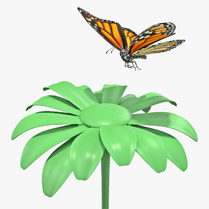 3D model monarch butterfly sits flower
