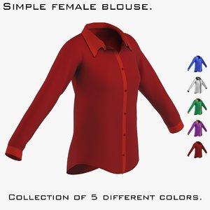 classic blouse female 3D model