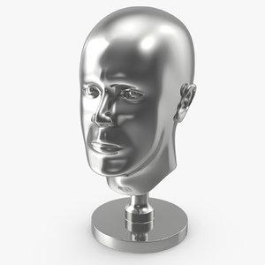 3D silver head statue model