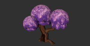 3D model hand painted cartoon tree