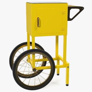 3D popcorn cart generic popped