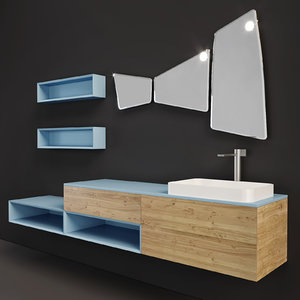 3D model furniture arblu lineo wall-mounted