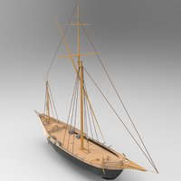 Small Sailboat Low-poly 3D model