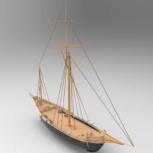 3D small sailboat model