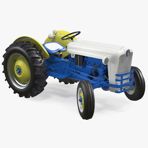 restored vintage tractor rigged 3D model