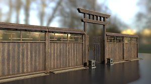 wooden gate fence japanese 3D