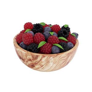 3D bowl berries model