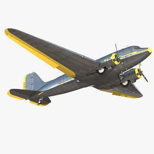 vintage airliner rigged passenger air 3D