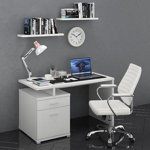workplace macbook 3 books 3D model
