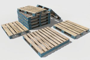 3D model industrial pallets 1 pbr