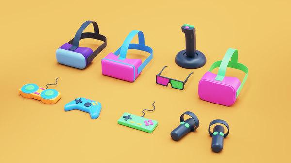 3D simple games equipment gamepads