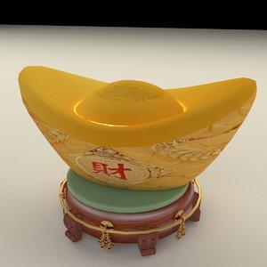 3D model chinese gold ingot