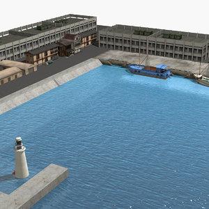 japan fishing port 3D model
