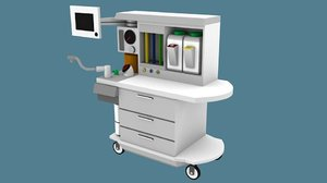 low-poly anesthesia cart 3D model