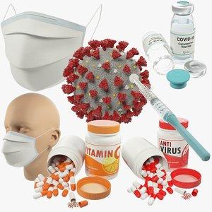3D medical stuff coronavirus model
