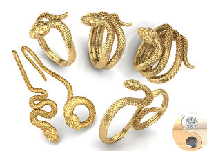 jewelry printing rings snake 3D model