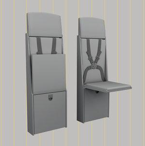 3D flight attendant chair