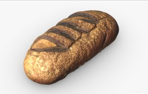 3D bread scan pbr model