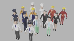 occupations character pack 3D model