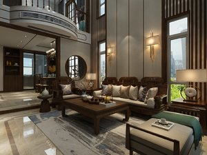 interior luxury two-storey villa 3D model