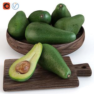 3D avocado fruit