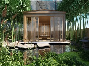 3D wooden gazebo tea set
