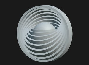 sphere rotated concentric rings 3D model