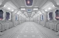 SCI FI INTERIOR SCENE SPACE SHIP Low-poly 3D model