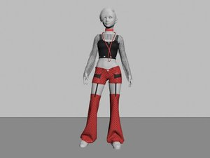 goth punk outfit 3D model