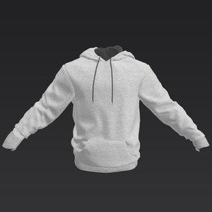 3D grey hoodie model