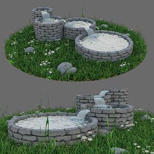 modern stone fountain 3D