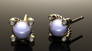 cable earring pearl diamonds 3D model