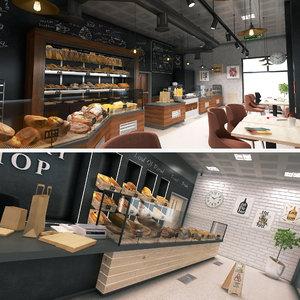 3D bakery coffee shop model