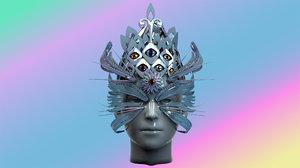 3D eyes feathers mask