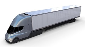 tesla semi truck trailer 3D model