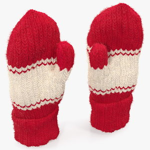3D pair red wool mittens