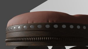3D old leather bench