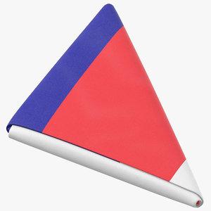 flag folded triangle france 3D model